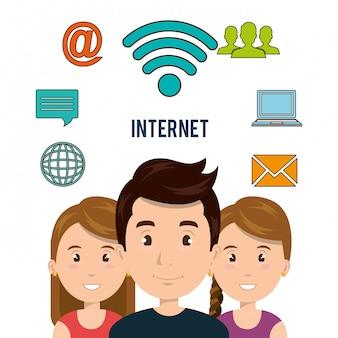 Icône isolé de la technologie de communication internet