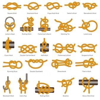 Icône isolé de vecteur de types de nœuds et d'attelages marins