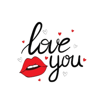 Icône isolée de lèvres sexy bisous avec l'inscription pour la saint-valentin. illustration.