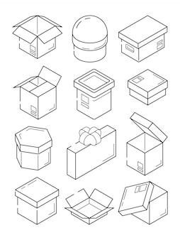 Icône isométrique de la boîte. conteneur de paquet d'exportation en carton petit cadeau avec symboles de contour d'arc