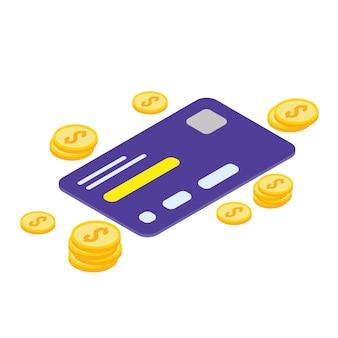 Icône isométrique de carte de crédit - vetorial