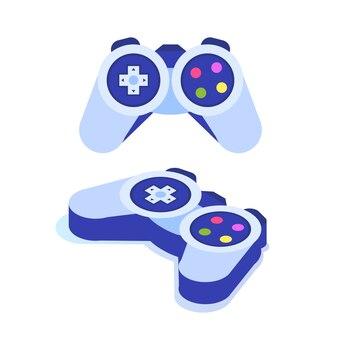 Icône isométrique de contrôleur de jeu vidéo ou de manette de jeu.