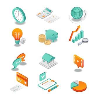 L'icône isométrique définit l'analyse commerciale et bancaire