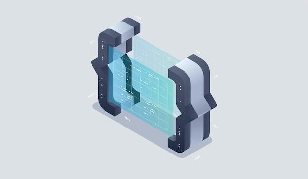 Icône isométrique de développement et de programmation de programmes, traitement automatisé des données volumineuses par l'intelligence artificielle.