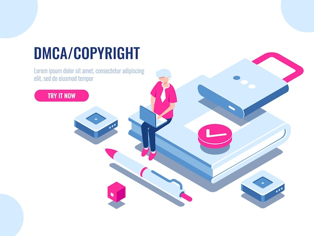 Icône isométrique du droit d'auteur des données dmca, sécurité du contenu, livre avec verrou, contrat numérique électronique