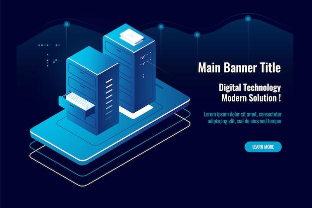 Icône isométrique de gestion de documents en ligne, application mobile, accès aux fichiers en nuage, fournisseur d'hébergement
