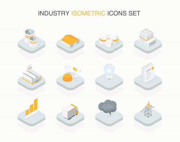 Icône isométrique industrielle simple conçue