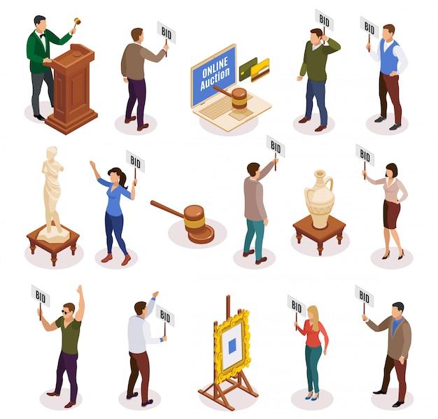 Icône isométrique et isolée de vente aux enchères sertie de personnes avec plaque signalétique dans leurs mains illustration