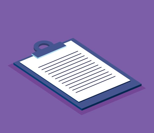 Icône isométrique de la liste de contrôle du presse-papiers