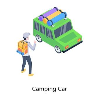 Une icône isométrique à la mode d'un vecteur modifiable de camping-car