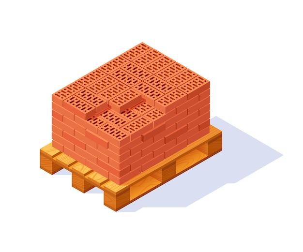 Icône isométrique de palette de briques