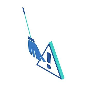 Icône isométrique représentant un balai pour nettoyer les fichiers dangereux