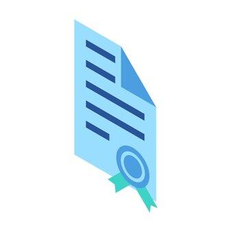 Icône isométrique représentant un document certifié