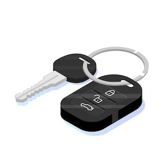 Icône isométrique de sécurité clé de voiture.