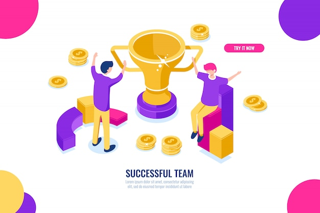 Icône isométrique de succès équipe, solutions d'affaires, célébration de la victoire, caricature de gens d'affaires heureux