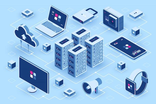 Icône isométrique de technologie informatique, salle des serveurs, ensemble de périphériques numériques, élément de conception, ordinateur portable pc