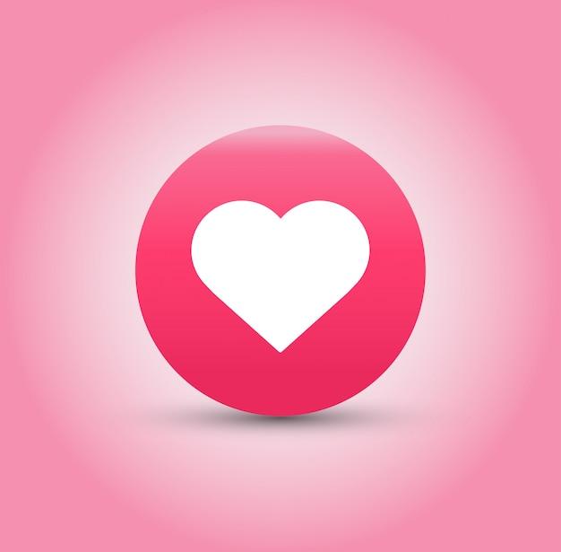 Icône j'aime et coeur sur fond rose.