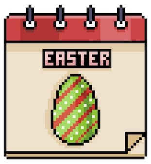 Icône de jeu de calendrier de vacances de pâques pixel art isolé
