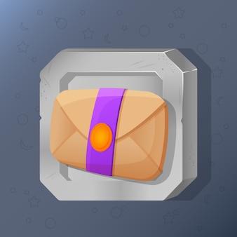 Icône de jeu de courrier ou lettre en style cartoon.