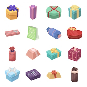 Icône de jeu de dessin animé de cadeau et certificat. illustration boîte de noël. jeu d'icônes dessin animé isolé cadeau et certificat.