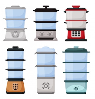 Icône de jeu de dessin animé cuiseur vapeur. vapeur illustration sur fond blanc. cartoon set icône cuiseur vapeur.