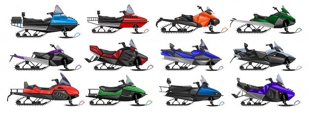 Icône de jeu de dessin animé isolé de motoneige. moto neige illustration sur fond blanc. jeu de dessin animé icône motoneige.