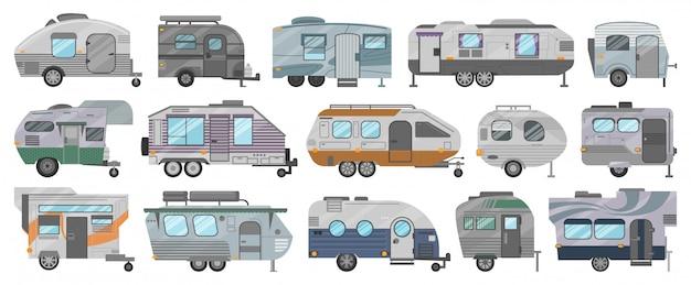 Icône de jeu de dessin animé isolé de remorque de camion. illustration camping van