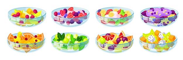 Icône de jeu de dessin animé isolé de salade de fruits. bol de nourriture végétale