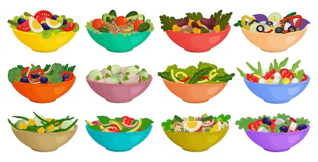 Icône de jeu de dessin animé isolé de salade de légumes. cartoon set icône bol laitue.