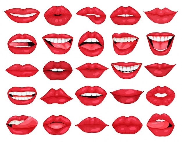 Icône de jeu de dessin animé de lèvre féminine. sourire d'illustration sur fond blanc. dessin animé mis icône lèvre féminine.