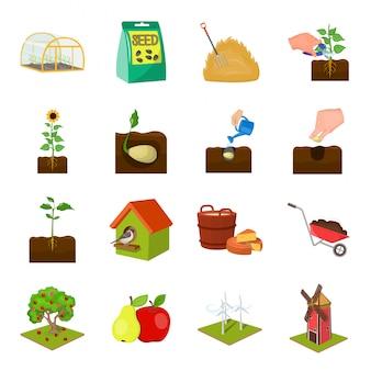 Icône de jeu de dessin animé maison et ferme. jardin biologique. jeu d'icônes dessin animé isolé maison et ferme.