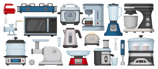 Icône de jeu de dessin animé de matériel de cuisine. dessin animé isolé set icône électroménager. illustration équipement de cuisine sur fond blanc.