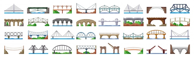 Icône de jeu de dessin animé de pont de construction. jeu d'icônes isolé dessin animé pont de construction.