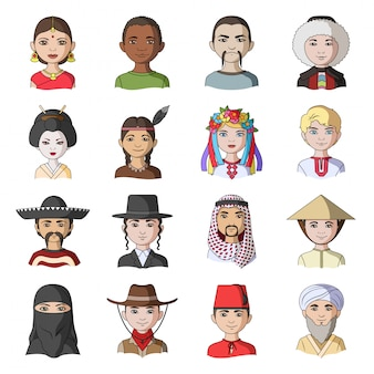 Icône de jeu de dessin animé de race humaine. avatar de personnes. jeu de dessin animé isolé icône race humaine.