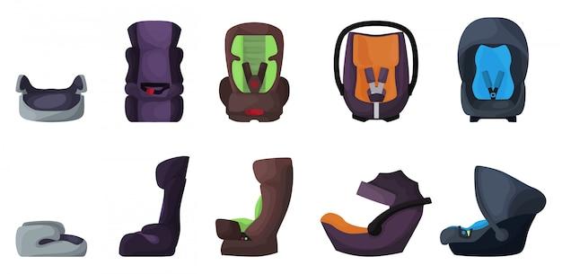 Icône de jeu de dessin animé de siège auto bébé. chaise de sécurité illustration sur fond blanc. jeu de dessin animé isolé icône siège auto bébé.