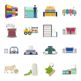Icône de jeu de dessin animé en tissu textile. caricature de l'industrie définie salon d'icônes. fabrication de textile .