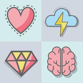Icône de jeu de ligne plate santé mentale