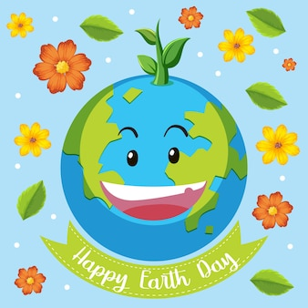 Icône de jour de la terre heureux