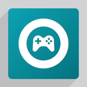 Icône de joystick plat, blanc sur fond vert