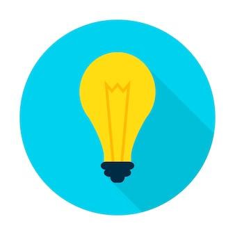 Icône de lampe d'idée. élément de cercle de style plat vector illustration avec ombre portée. ampoule.
