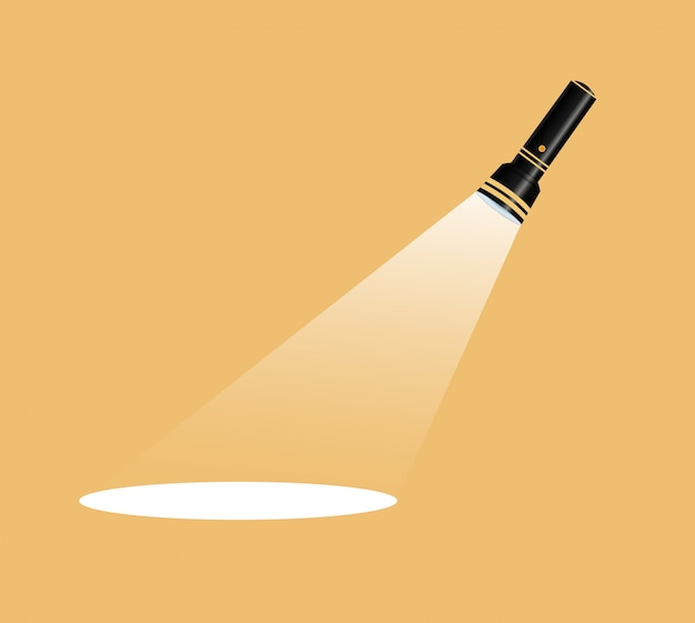 Icône de lampe de poche. illustration plate lampe de poche plate de compétition en blanc pour la publicité et le texte.