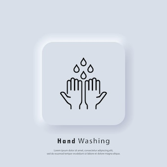 Icône de lavage des mains. lavez-vous les mains avec l'icône de savon. concept de soins de santé. se laver les mains avec de l'eau de rinçage, du robinet, du savon. vecteur. icône de l'interface utilisateur. bouton web de l'interface utilisateur blanc neumorphic ui ux.