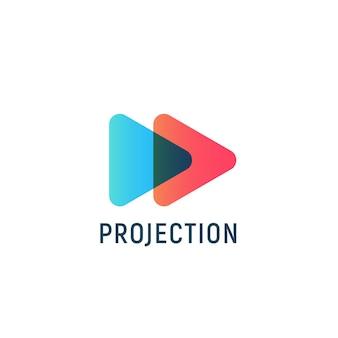 Icône de lecture abstraite bouton rouge et bleu flèche droite média numérique logo modèle plat style minimal