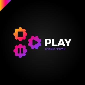 Icône de lecture avec le logo de l'engrenage vidéo