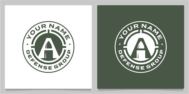 Icône de la lettre a avec bullet negative spacevintage retro logo designs