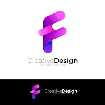 Icône de la lettre f, style coloré du logo f