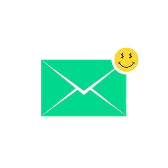Icône de lettre d'offre commerciale verte avec emoji. concept de promo, victoire, avatar de dessin animé, riche, information, prix, publicité. conception graphique de logo moderne tendance style plat sur fond blanc
