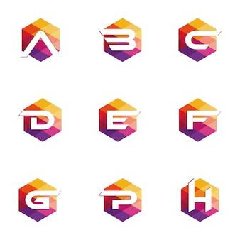 Icône de lettre origami logo. icône du logo élément de modèle abstrait coloré design