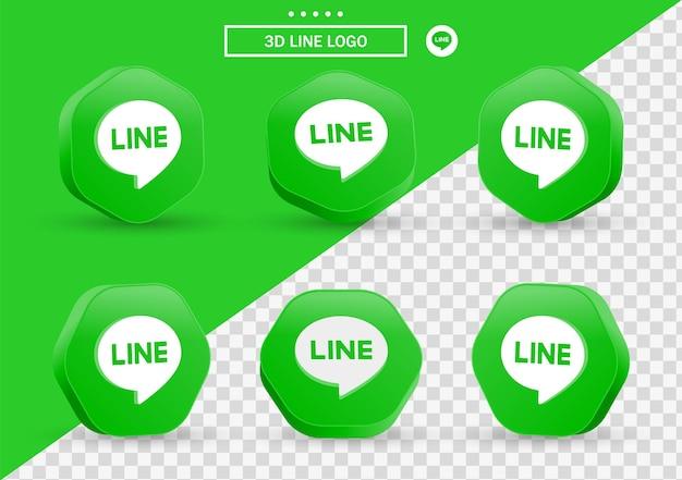 Icône de ligne 3d dans un cadre de style moderne et un polygone pour les logos d'icônes de médias sociaux
