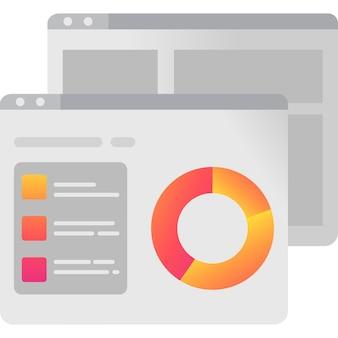Icône en ligne d'analyse commerciale de données numériques vectorielles